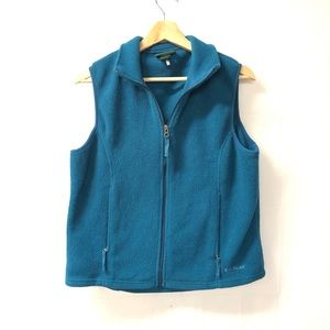 L.L. Bean Small Zip Up Fleece Teal vest jacket